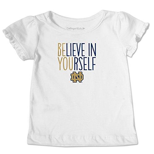 NCAA Notre Dame Fighting Irish Toddler Ruffle Tee, 4 Toddler, White