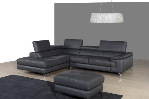 A973 Modern Ash Grey Italian Leather Sectional Sofa with Left Chaise
