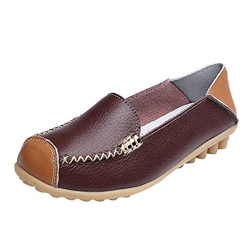 Kauneus Womens Cowhide Casual Slipper Loafers Moccasin Driving Shoes Flat Slip-Ons Coffee