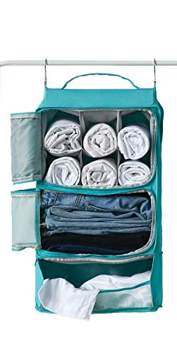 Price comparison product image Hanging Mesh Luggage Bags Suitcase Closet Organizer Insert Packing Cube w / hooks / Shelving / Waterproof / For Travel (Turquoise)