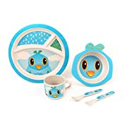 BAMBOO KIDS Meal Set | Kids Plate Set | Toddler Dinner Set | Eco-Friendly Bamboo Dishes | Food-Safe Feeding Set for Toddlers and Little Kids | Boys and Girls | Bird Character by Green Frog Friends