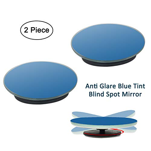 """2 Pack 2"""" 360° Rotate + Sway Adjustabe Round Anti Glare Blue Tint Blind Spot Mirrors, Ampper Universal Fit Frameless HD Glass Stick On Lens"""
