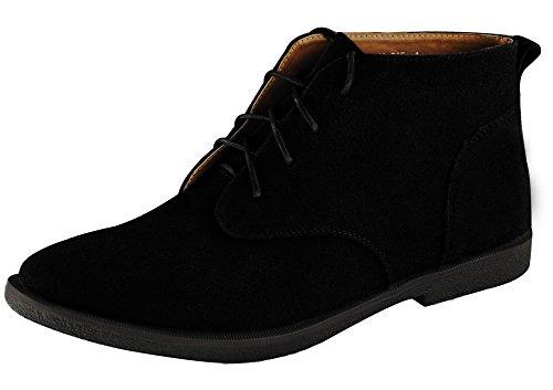 Fangsto Mens Oxfords Desert Chukka Boots Caviglia Nero