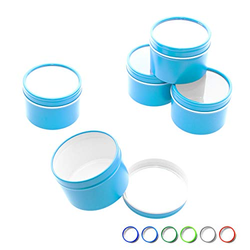 (Mimi Pack 4 oz Deep Round Clear Window Metal Tin Container Slip Top Lid For Salves, Favors, Spices, Balms, Candles, Gifts Limited Run Series 24 Pack (Azure Blue))