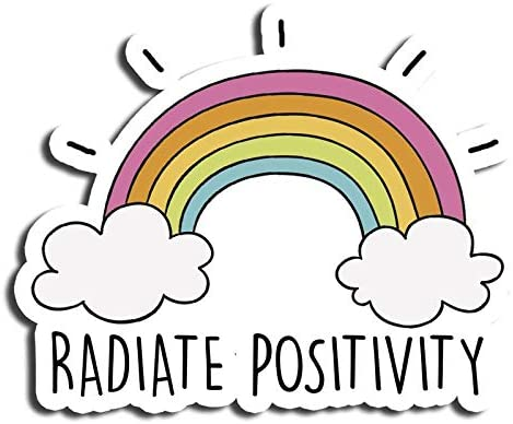 Radiate Positivity Sticker Phrase Sticker Cool Rainbow Stickers Laptop Stickers Waterbottle Sticker Aesthetic Stickers Computer Stickers