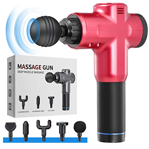Massage Gun Deep Tissue for Athletes - Handheld Portable Electric Full Body Percussion Massager for Pain Relief, 6 Speed with 5 Massage Heads (Red)