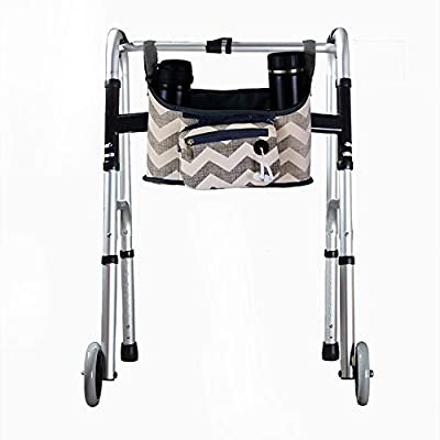 """Wheelchair Side Bag, Hands Free Walker Bag, Durable Walker Rollator Scooter Accessory Storage Tote Bag, Folding Walkers Organizer Pouch Caddy for Elderly,Seniors, Handicap and Disabled 12.6""""Lx6.3""""W"""