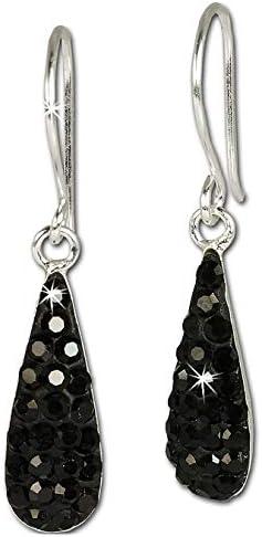 SilberDream Glitzer Ohrhänger Silber Zirkonia Kristall schwarz GSO208S