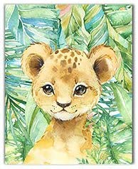 Nursery Decor Art 8x10 Option 1 Unframed Little Baby Watercolor Animals Safari Prints Set of 4