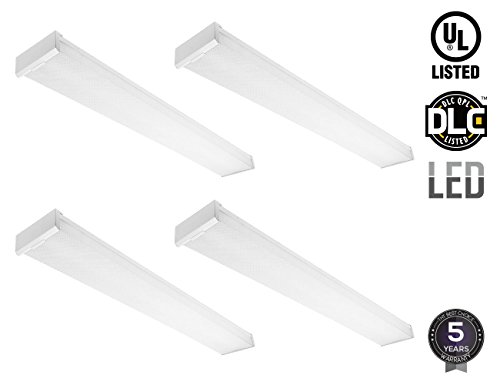 42W LED Wraparound, 4ft Low Profile Flush Mount Ceiling Light Fixture, 4400Lm, DLC & UL-listed, Surface Mount, 4000K Cool White, Pack of 4
