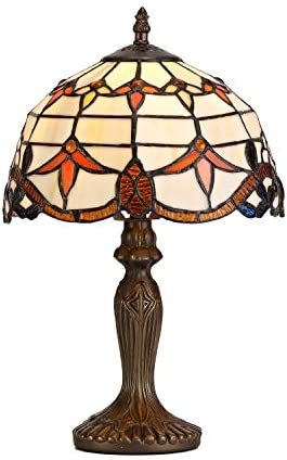 GZBtech Tiffany Baroque Table Lamp Maple Leaf Style, 15 High Stained Glass Vintage Desk Lamps of Beige Shade Antique Base with Power Cord for Reading Living Room Bedroom, 1 Bulb Included