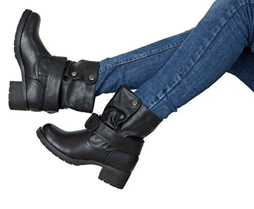 SAlin Stiefeletten Biker Boots in 4 Farben Khaki