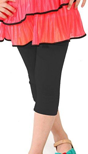 Khanomak Kids Girls Capris Crop Cotton Leggings Tights pants (Size 4T/5 yrs_ Black) (Leggings Kids)