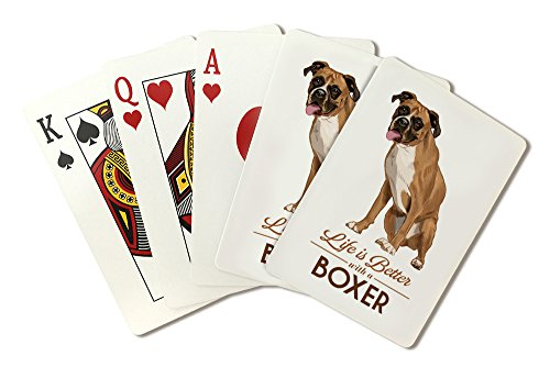 Boxer - Life is Better - White Background (Playing Card Deck - 52 Card Poker Size with Jokers) (Boxers Poker)