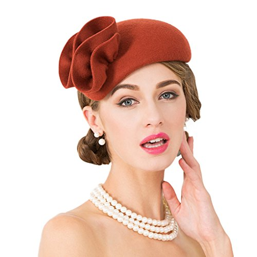 Dovaly Womens Fascinator Cocktail Formal Pillbox Hat Felt Derby Wool Vintage Fedoras -