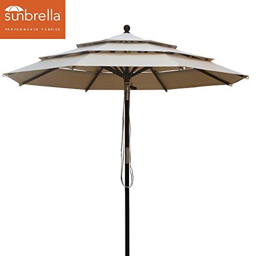Elite Shade Sunbrella 9Ft Market Umbrella Patio Outdoor Wooden Table Umbrella 3 Layers with Ventilation, Bonus weatherproof Cover (Sunbrella Beige)