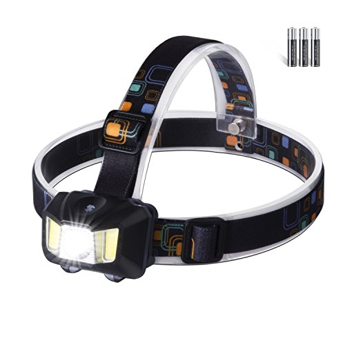 LED Headlamp Headlight 4 Modes Adjustable Water Resistance Super Bright Headlamps Sensitive Touch Switch with Red Strobe for Outdoor Camping Gear Running Fishing Hunting Reading Hiking Walking