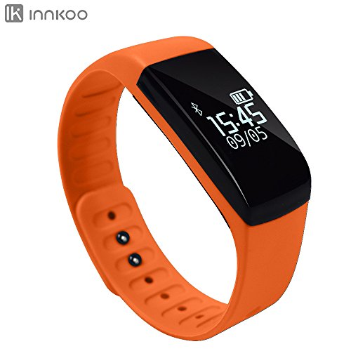 Waterproof Fitness Tracker Pedometer, InnKoo U8 Activity and Sleep Monitor Sports Watch Band Calories Counter Smart Bracelet Wristband, Touch Screen Bluetooth Sync Long-time Standby (Orange)