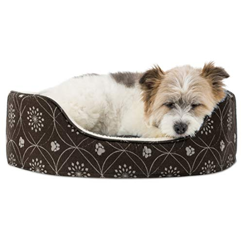 Furhaven Pet Dog Bed | Round Oval Cuddler Paw Print Décor Flannel Pet Bed for Dogs & Cats, Dark...