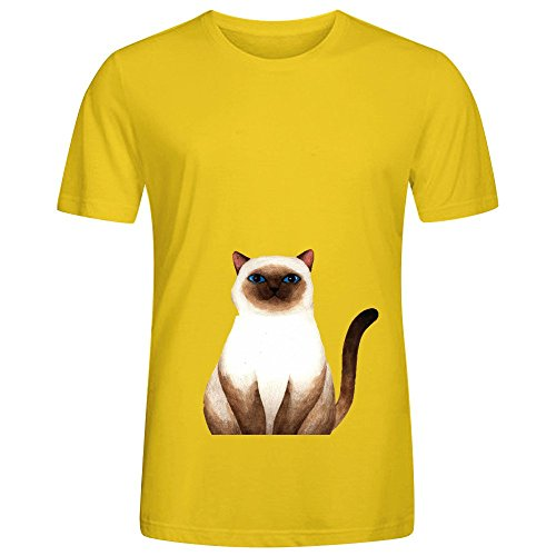 Siam Cat Cool Mens Crew Neck Digital Printed T Shirt Yellow (Siam Clip)