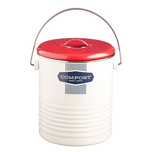 Typhoon Belmont Color-Coated Steel Compost Caddy, 85-Fluid Ounces, White, Red, Blue