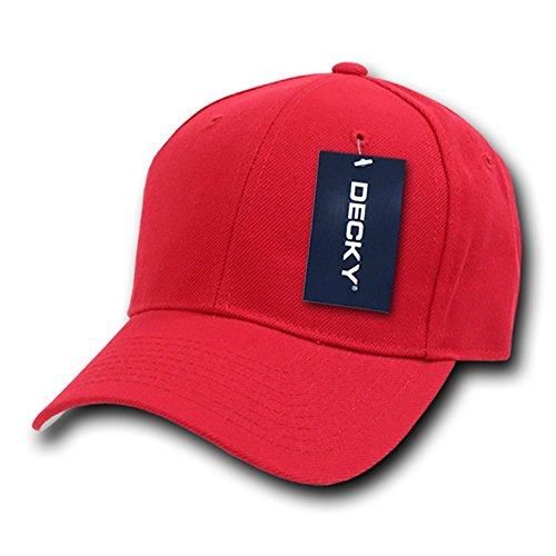 Red Fitted Hat Cap - DECKY Fitted Cap, Red, 7 1/2