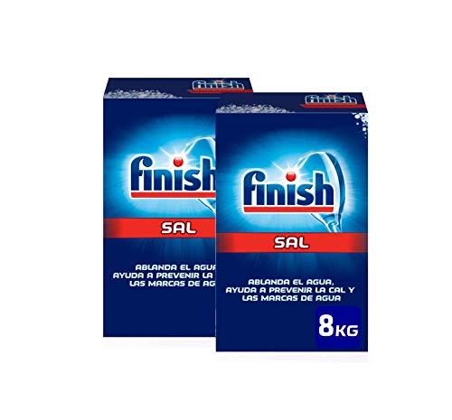 Finish Lavavajillas Sal - 2 Kg , Paquete de 3 + Limpiamáquinas Regular - 500 ml Duplo + Abrillantador Regular - 800 ml