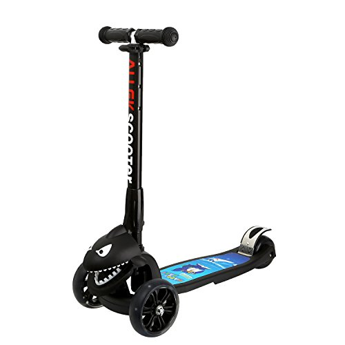 Kick Scooter, Allek 3 Wheel Adjustable Height PU Flashing 3 Wheels Scooter...
