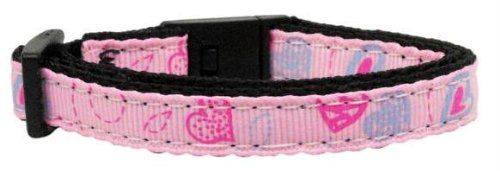 Crazy Hearts Nylon Collars Light Pink Cat Safety (24 Pack) [Misc.] by None