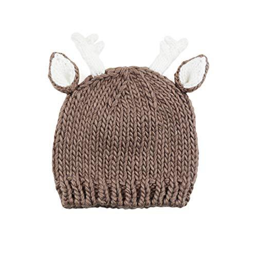 Hartley Deer Hand Knit Hat (Small 12-24 months, Tan) ()