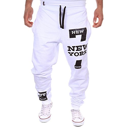 Cottory Men's Harem Casual Baggy Hiphop Dance Jogger Sweatpants Trousers White X-Small