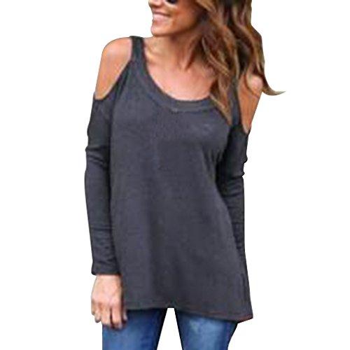 Tops T Longues Dos Fille Femmes Shirts gris Nu Color Casual Les paule Masterein Hors fonc Manches Pure xCp668