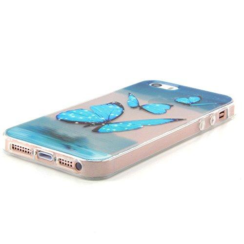 Voguecase® für Apple iPhone 5 5G 5S hülle, Schutzhülle / Case / Cover / Hülle / TPU Gel Skin (Fliegen Schmetterling) + Gratis Universal Eingabestift