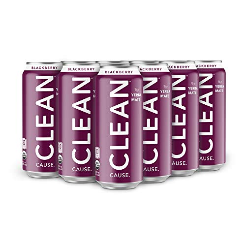 CLEAN CAUSE Organic Yerba Mate Tea Energy Drink, Blackberry - 50% Profits Support Alcohol & Drug Addiction Recovery - Sparkling, Low Calorie & Low Sugar (160mg Caffeine, 12-pack 16oz)