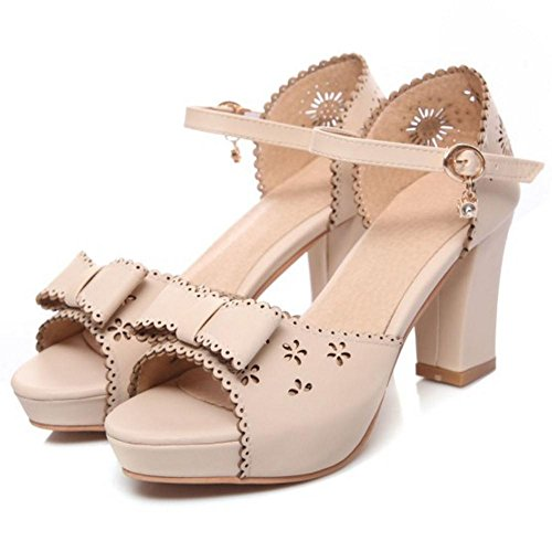 Toe Peep Bow Sandals TAOFFEN Beige Women Pgnq8B