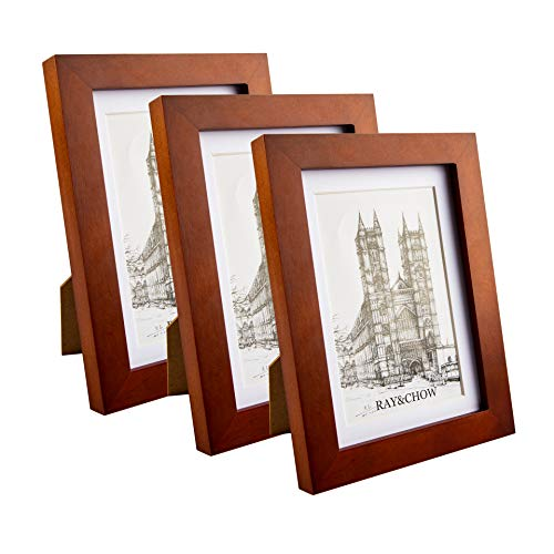 Ray & Chow 5x7 inch Brown Picture Frame - Made to Display Pictures 4x6 with Mat or 5x7 Without Mat- Solid Wood- Glass Window- with Stand or Wall Hanging -3 Pack (Brown Frames Window)