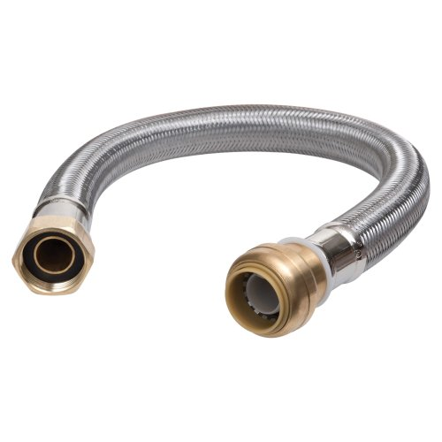 SharkBite U3068FLEX12LF Flexible Connector 1/2 inch x 3/4 inch x 12 inch, Push-to-Connect Braided Stainless Steel Water Heater Hose, 1/2-Inch x 3/4-Inch x 12-Inch