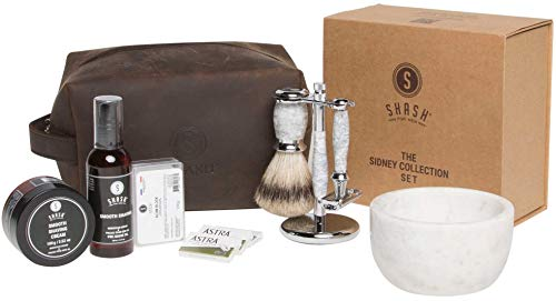 SHASH Sidney Collection Shaving Set, White - Includes Butterfly Razor, Best Badger Brush, Stand, Pre-Shave Oil, Shaving Cream, Alum Block and Double Edged Blades - Premium Quality Brass and Chrome