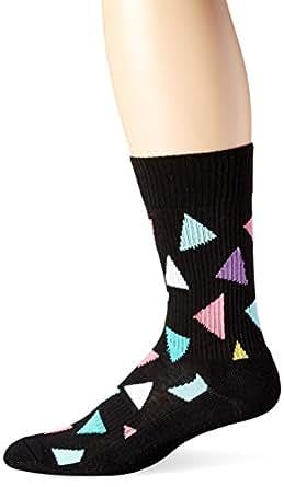 Happy Socks Men's Big Triangle Combed Cotton 1/2 Terry Crew Socks, Black Combo, 9-11