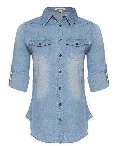 Design by Olivia Women's Basic & Classic Button Down Roll up Sleeve Chambray Denim Shirt Top (T39611 Medium Denim, Small)