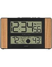 La Crosse Technology 513-1417 Atomic Digital Clock with Outdoor Temperature, Oak Finish