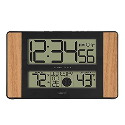 La Crosse Technology Atomic Digital Clock, Oak - Atomic self set time and date with optional manual set Automatic Daylight savings time reset (on/off option) Large 2. 125 inch time digits for easy reading - clocks, bedroom-decor, bedroom - 41VZIao0YRL. SS400  -