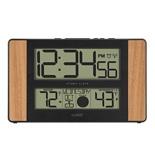 41VZIao0YRL - La Crosse Technology 513-1417 Atomic Digital Clock with Outdoor Temperature, Oak Finish