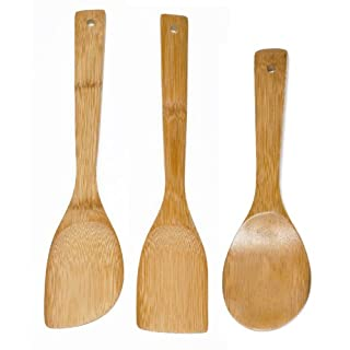 IMUSA USA Cookware Spoon Set 3-Piece, Bamboo