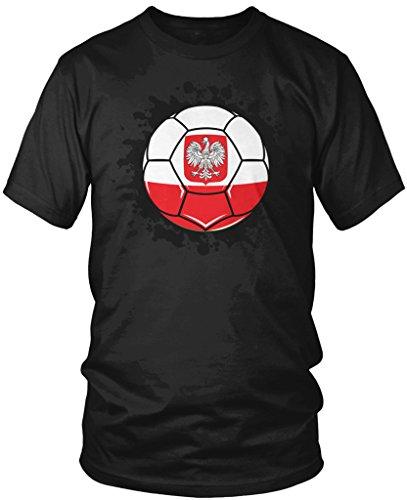 Poland Soccer Ball, Polish Flag, Polska Pride Men's T-shirt, Amdesco, Black (Poland Soccer T-shirt)