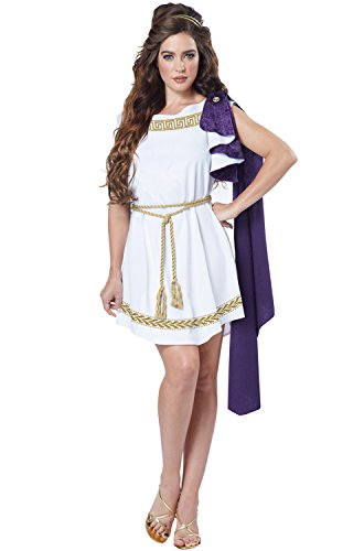 California Costumes Women's Grecian Toga Dress, White/Purple, X-Large