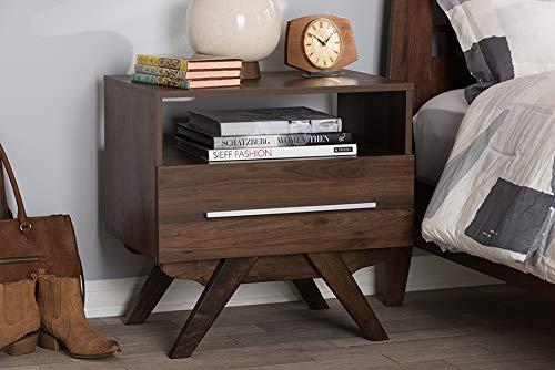 Baxton Studio Ashfield Mid-Century Modern Walnut Brown Finished Wood Nightstand/Mid-Century/Brown/Medium Wood/Particle -