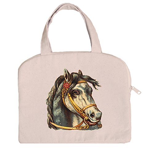 Gold Bridle - Tablet Bag Canvas Handles Horse With Gold Bridle Pets Animals By Style In Print