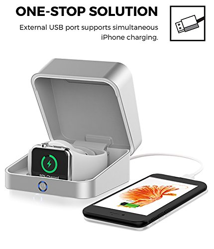 2018 MFI Apple Watch Aluminum Wireless Magnetic & USB Charger Case/5500mAh Portable Power Bank iWatch Charging Dock Station for Apple Watch, iPhone X, 10, 8, Android by UniteduShop