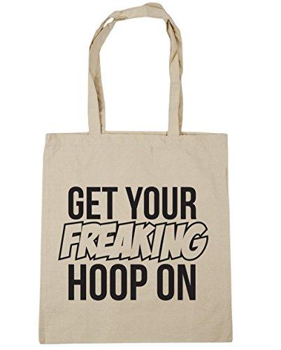 HippoWarehouse Get Your Freaking aro en bolsa de la compra bolsa de playa 42cm x38cm, 10litros Natural